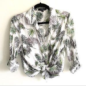 VELVET HEART Button Down Shirt Palm Leaf Print S